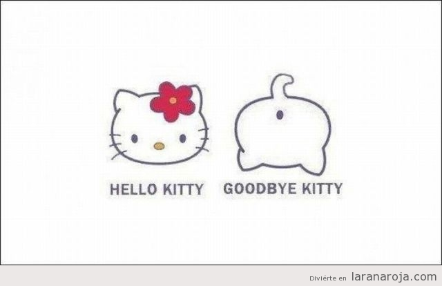 Dibujo gracioso de Hello kitty goodbye kitty