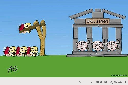 Angry Birds con careta de Anonymous y cerdos de Wall Street