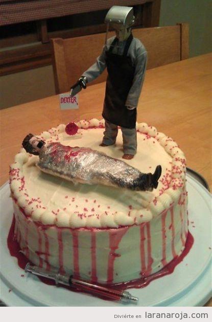 Pastel de fondant original con la serie Dexter