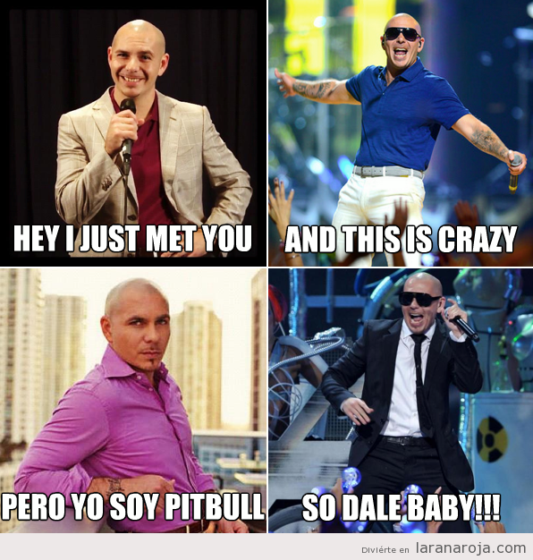 Meme gracioso de Pitbull cantando Call me maybe