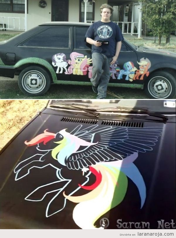 Coche tunning con dibujos de my little pony