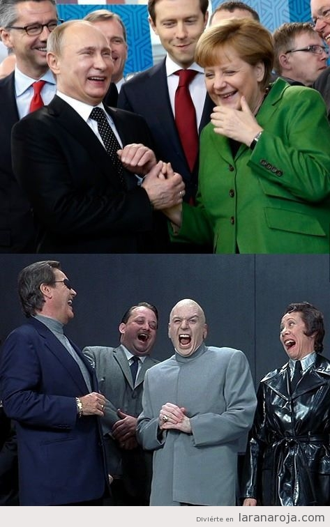 Parecido razonable entre Putin, Merkel y Doctor Maligno