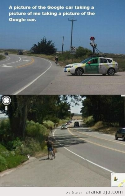 Imagen graciosa, u ciclista hace foto coche google street view