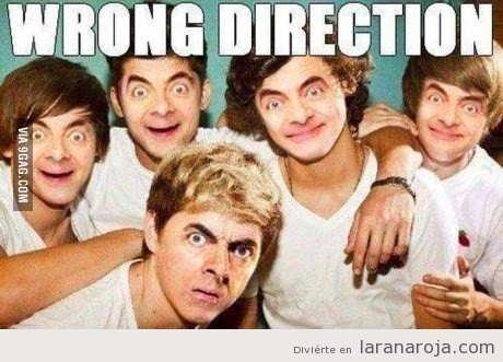 Meme gracioso, Mister Bean en Ojne Direction. Wrong Direction