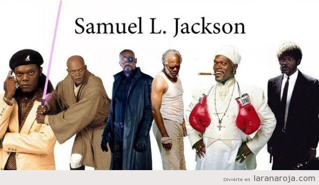 Imagen con varios personajes del actor Samuel L Jackson