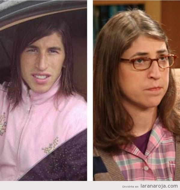 Parecido razonable Sergio Ramos y Amy Farrah Fowler de The Big Bang Theory